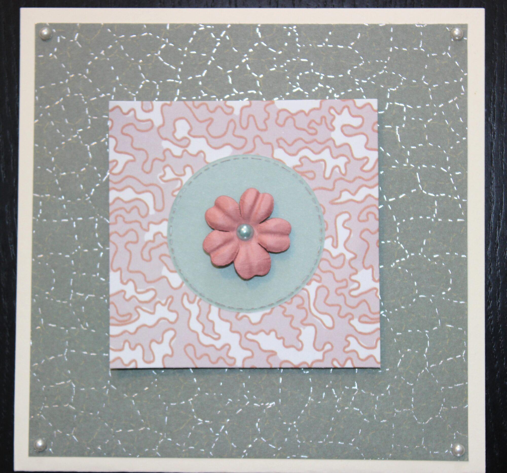Kort med cirkel og blomst