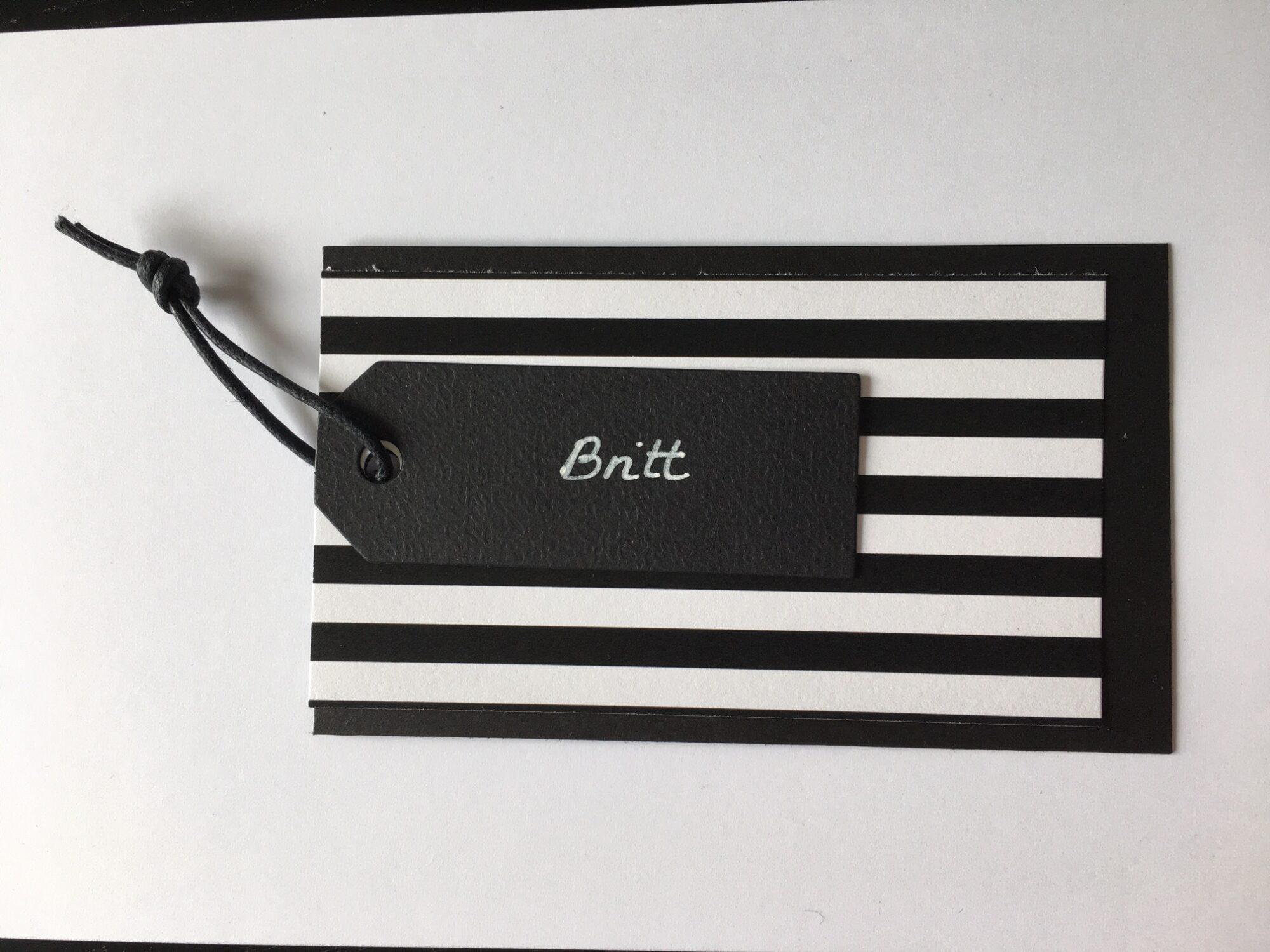 Bordkort i sort og hvid