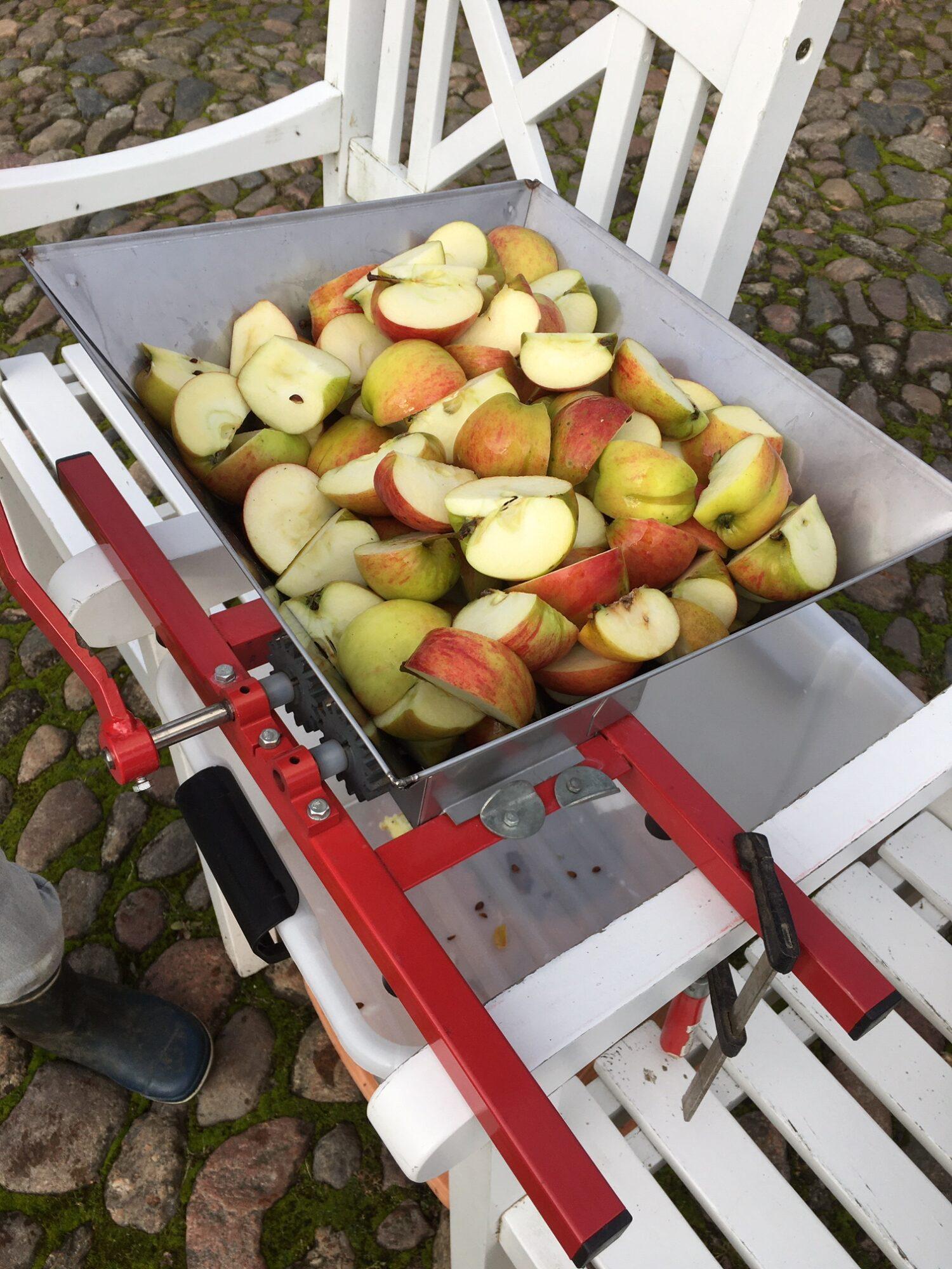 Overskårne æbler i kværnen